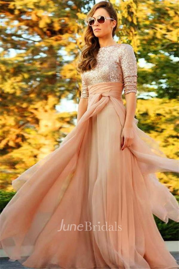 Stunning Sequins Long 2018 Evening Dress Half Sleeves Prom