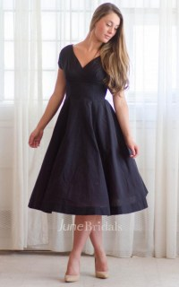Casual V-neck Tea-length Short Sleeve Dress - June Bridals