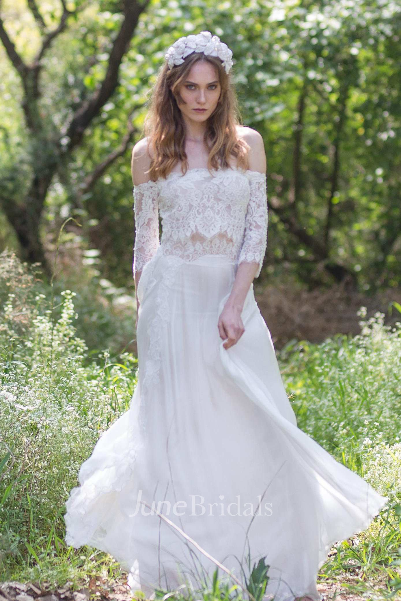 Offtheshoulder Lace Chiffon Boho Wedding Dress With Corset Back  June Bridals