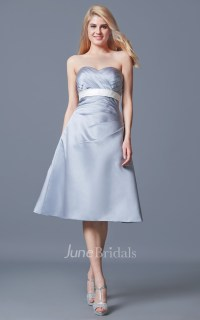 Strapless Ruched A-line Satin Tea Length Satin Dress ...