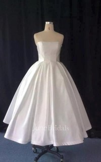 Strapless Tea-Length A-Line Taffeta Wedding Dress With ...