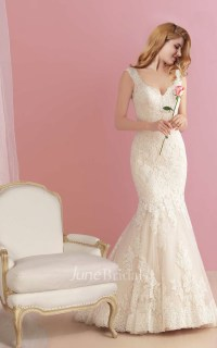 Plunging Neck Lace Mermaid Wedding Dress with Open Back ...