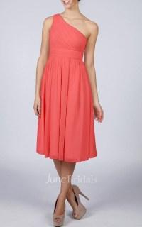 Coral One-shoulder Short Bridesmaid Dress - June Bridals