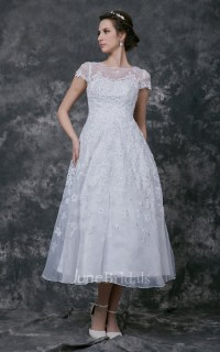 Short Sleeve Tea-length lace Wedding Dress - June Bridals