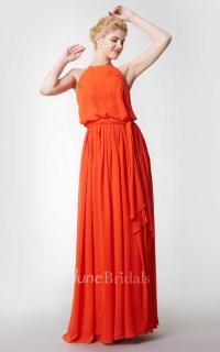 Halter Style Long Chiffon Bridesmaid Dress - June Bridals