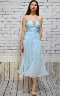 Strapless A-Line Tea-Length Dress With Ruching - June Bridals