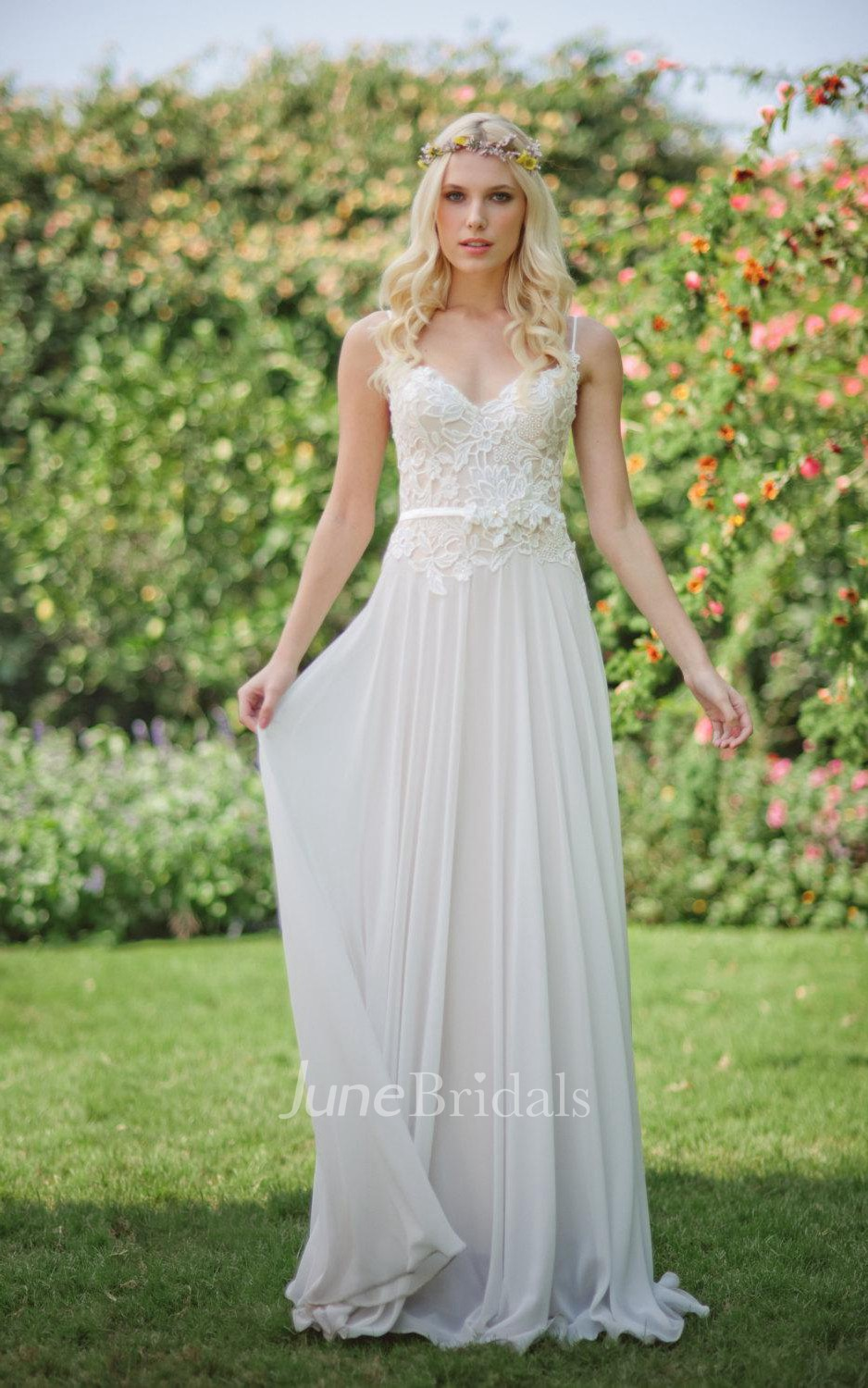 Chiffon Lace Weddig Dress With Beading Flower LaceUp Back