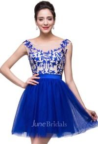 Elegant Royal Blue Sleeveless Short Homecoming Dress With ...