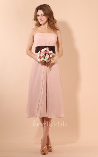 Strapless Tea-Length Dress With Ruching And Ruffle Waist ...