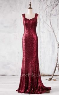 Newest Wine Sequin Bridesmaid Dress - June Bridals