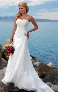 Sheath Column Strapless Chiffon Wedding Dress - June Bridals