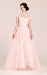 Short-sleeved A-line Long Dress With Illusion Neckline ...