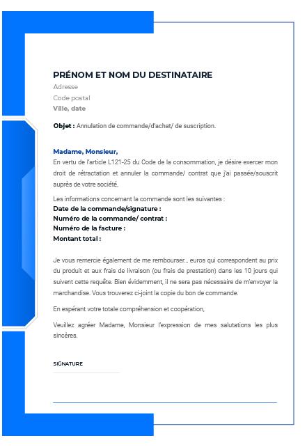 Annulation Commande Internet Avant Livraison : annulation, commande, internet, avant, livraison, Lettre, Rétractation, Comprendre, Points, Justifit.fr