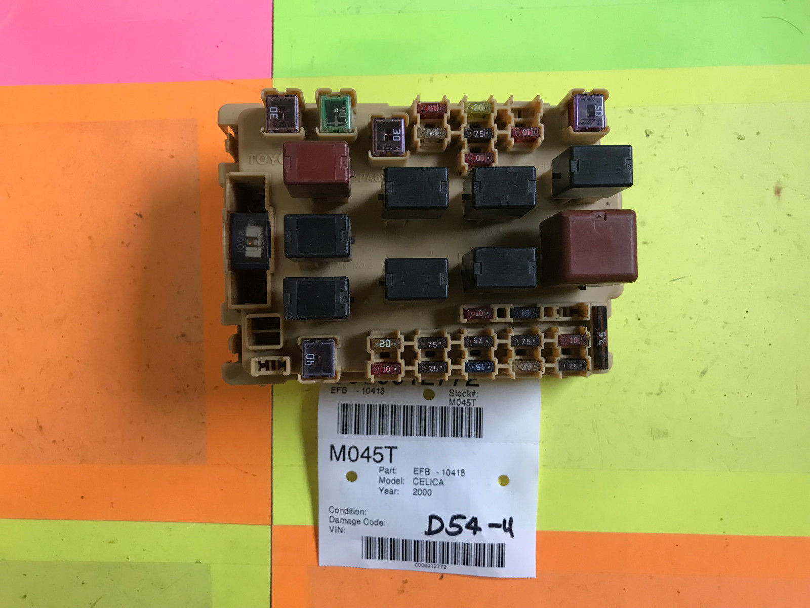 hight resolution of 00 02 toyota celica engine fuse box oem m045t 10418