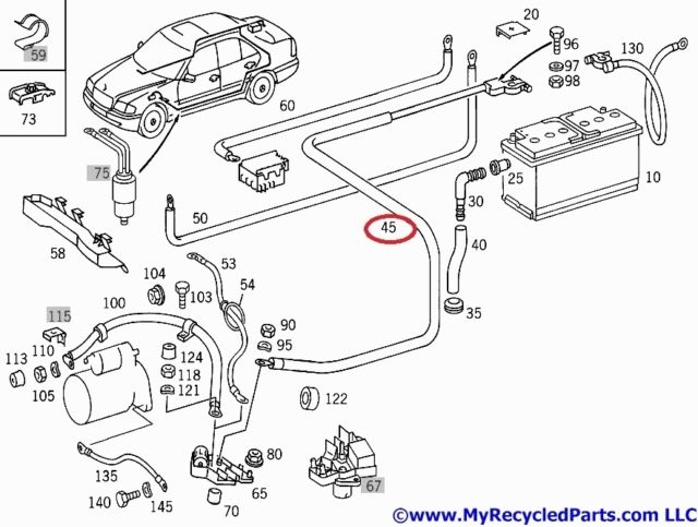 Mercedes W202 Positive cable from battery to cable