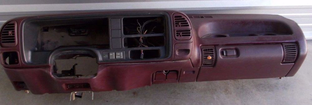 medium resolution of 1995 1999 chevy gmc truck tahoe suburban dash core frame assembly maroon trim dashboard assembly