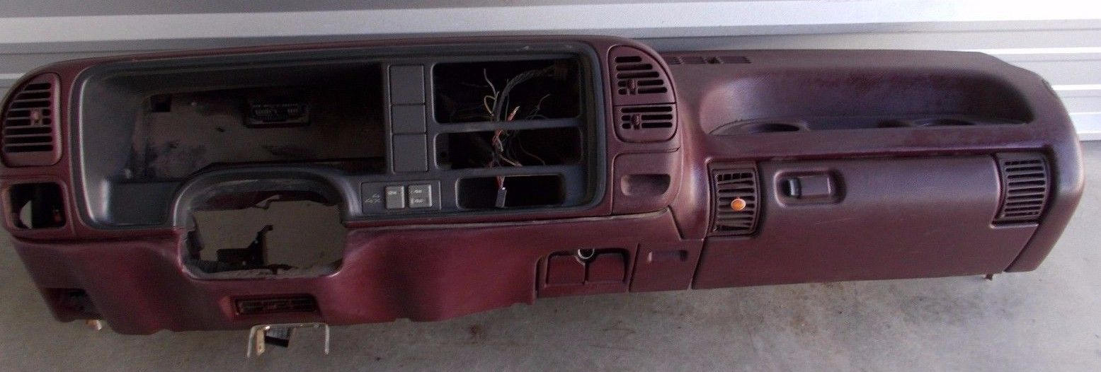 hight resolution of 1995 1999 chevy gmc truck tahoe suburban dash core frame assembly maroon trim dashboard assembly