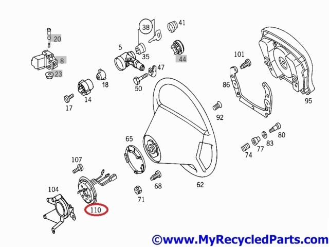 Mercedes W202 Airbag contact plate 1684600149 from model