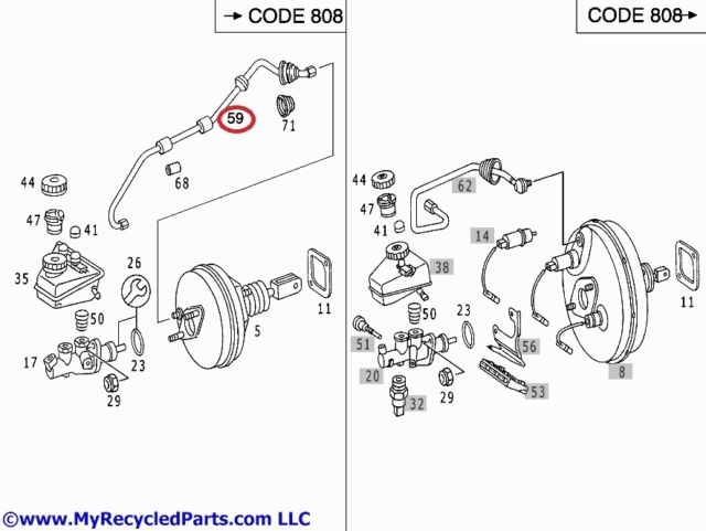 Mercedes W202 Brake vacuum line from intake manifold to