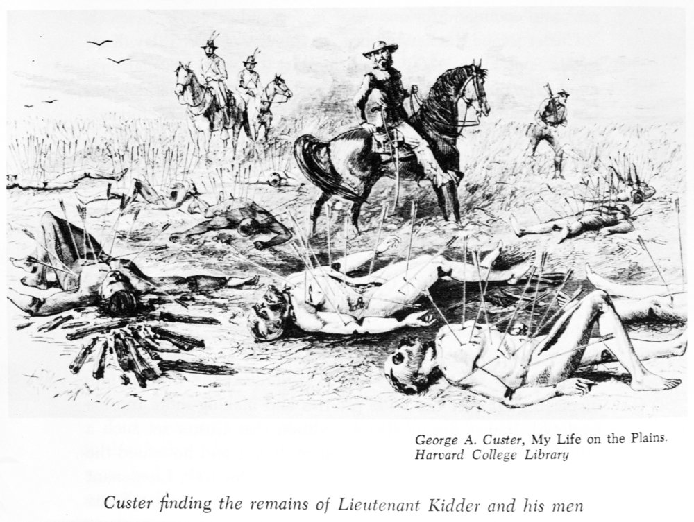 General Custer finding the remains of the Kidder massacre