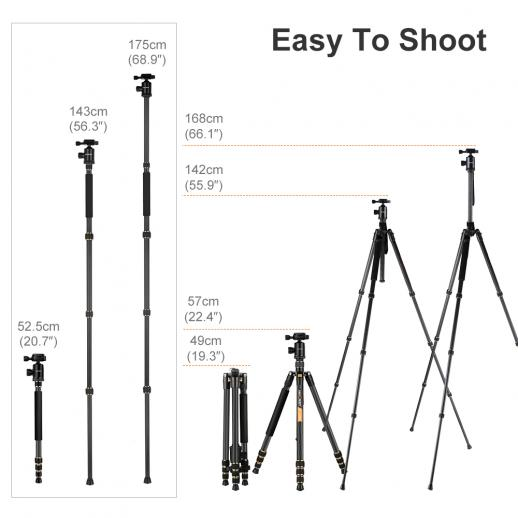 K&F Concept TC2534 Carbon Tripod Monopod Kit for DSLR