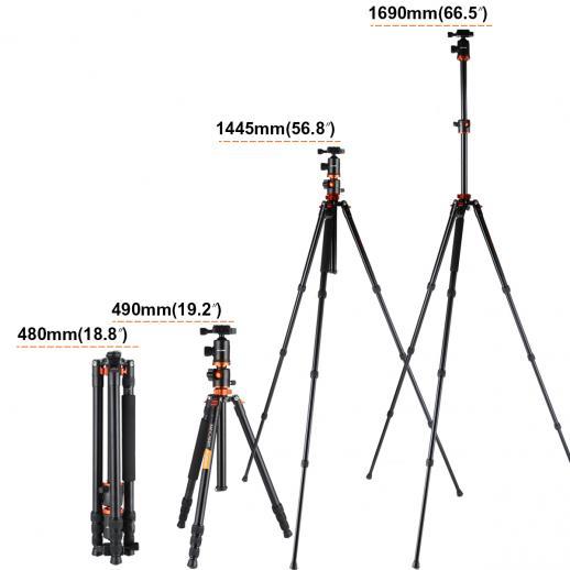 K&F Concept TM2534T(Orange) Aluminium Camera Tripod