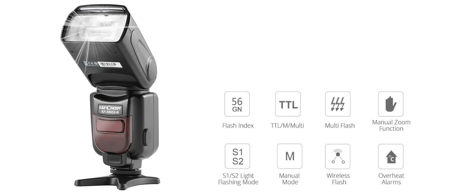 K&F Concept KF590N I-TTL Flash for Nikon GN56 Auto-Focus