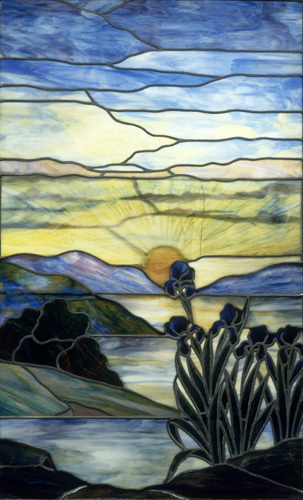 Stained Glass Window With Iris And Sunset C1900 Art Print By Louis Comfort Tiffany At King Amp McGaw