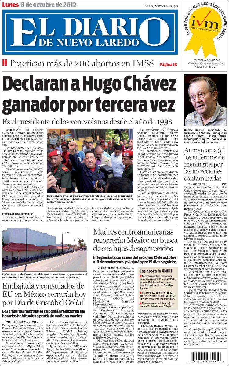 Newspaper El Diario De Nuevo Laredo Mexico Newspapers