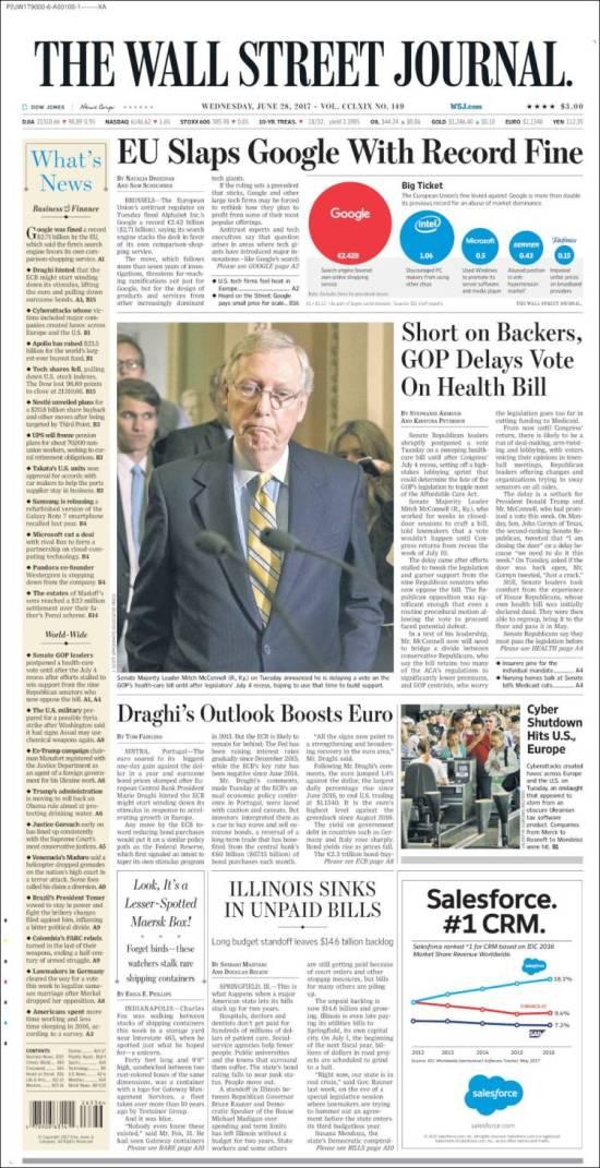 Portada de Wall Street Journal (USA)