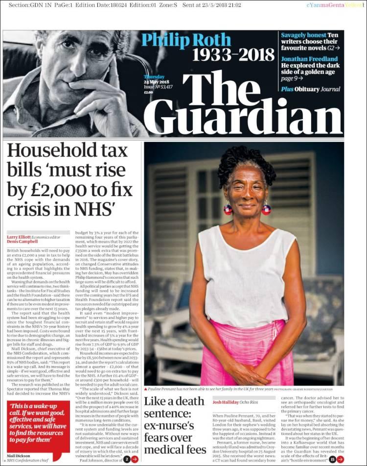 Portada de The Guardian (United Kingdom)