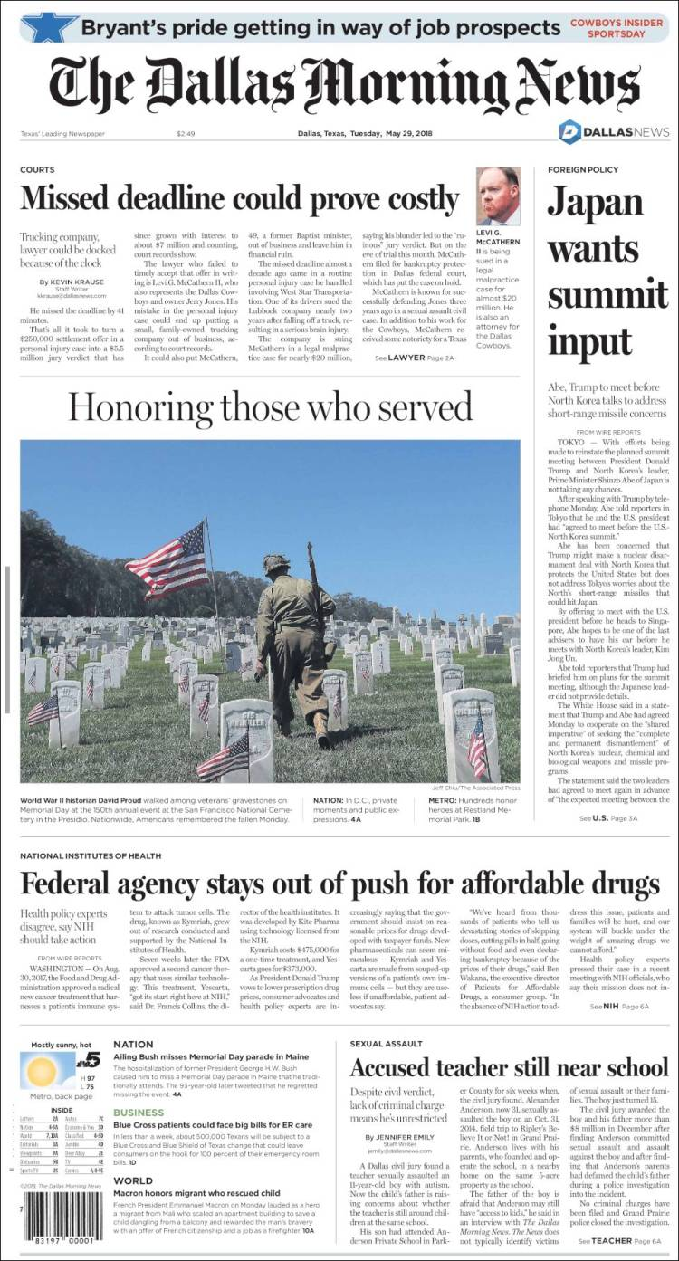 Portada de Dallas Morning News (USA)