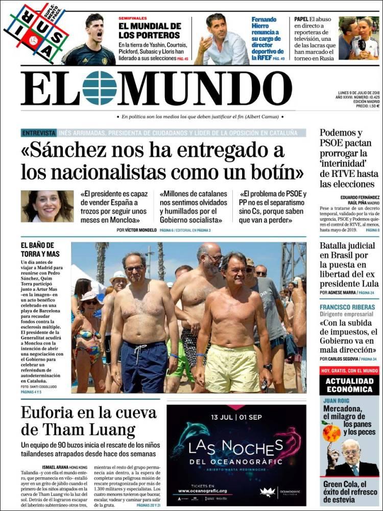 Portada d'El Mundo (España)