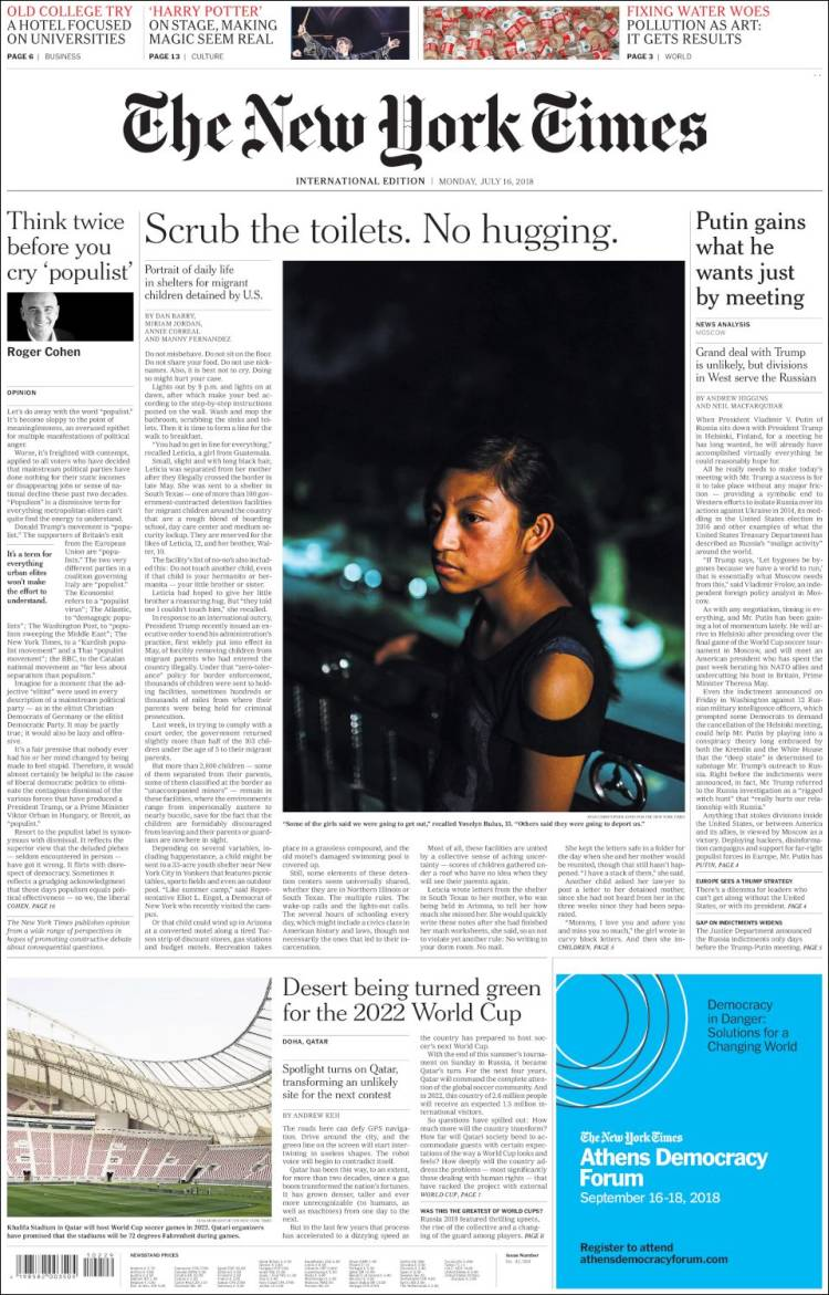 Portada de International New York Times (Europe)