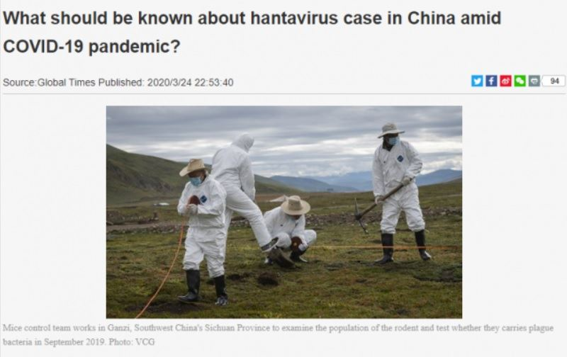 China confirms hantavirus outbreak, 1st death reported