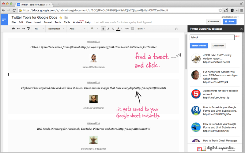 Twitter Curator is an add-on for Google Docs and Sheets