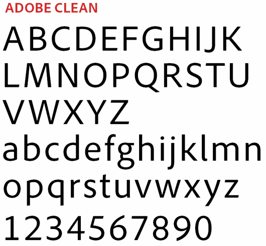 adobe clean typeface