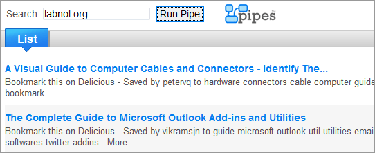 yahoo pipes blog search
