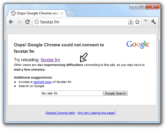 google chrome - site down