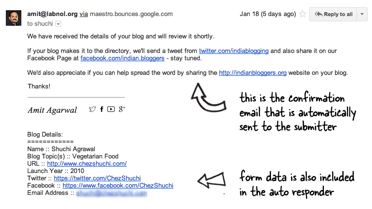 A sample auto confirmation email sent through Google Forms