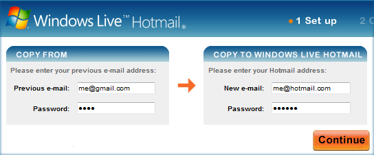 Copy Gmail Messages to Hotmail