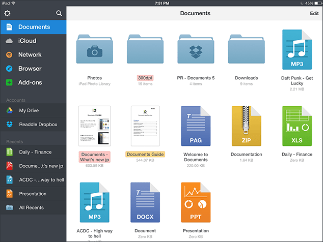 Documents App for iPad and iPhone