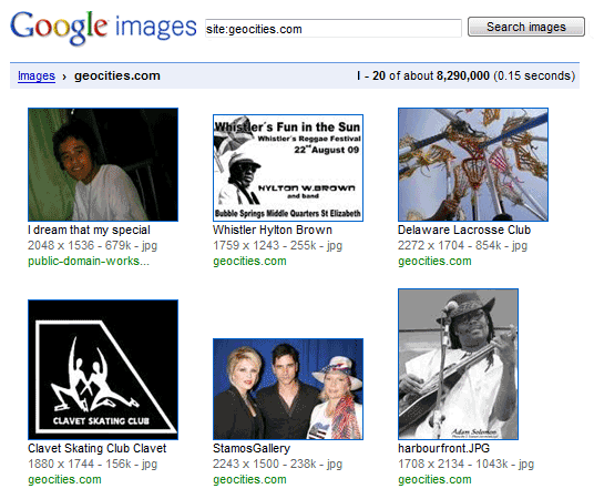 geocities pictures on google images