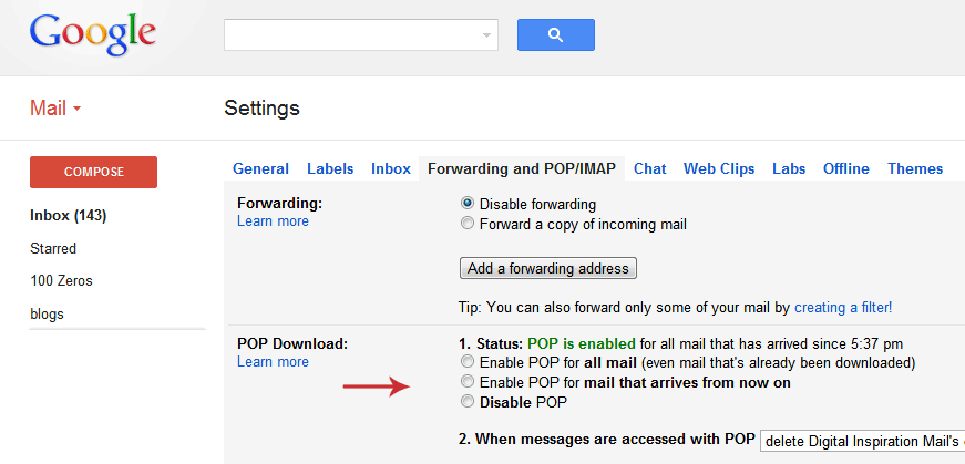 Gmail POP3 Settings