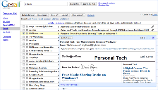 Gmail Reading Pane Appears On-Demand