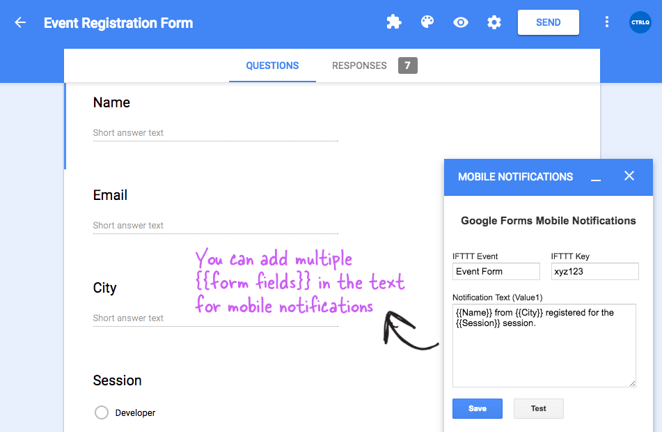 Receive Push Notifications for Google Forms on iPhone and