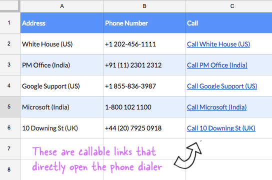 How to Make Phone Numbers Callable in Google Sheets with Telephone Links