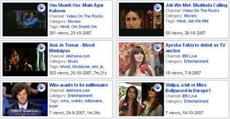 bollywood video search engine