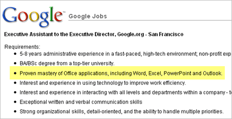 google microsoft office jobs