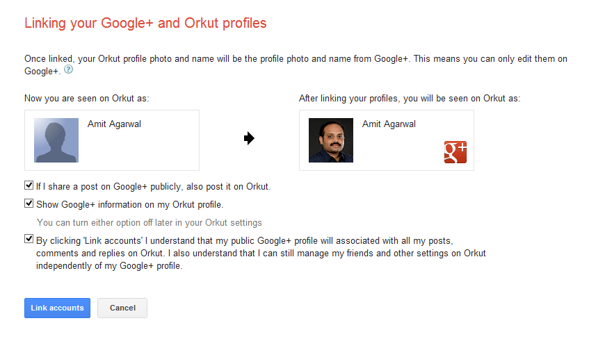Link Orkut with Google Plus